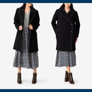 NEW Kate Spade Saturday Piped Overside Wool Coat L